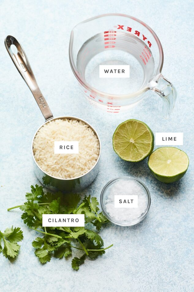 Ingredients measured out to make cilantro rice: water, rice, lime, salt and cilantro.