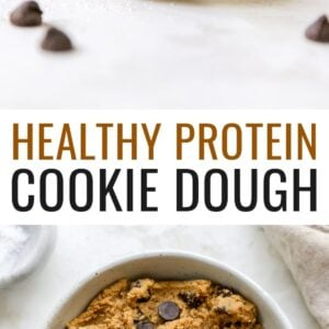 Photo of a spoon with protein cookie dough and a bowl of the cookie dough.