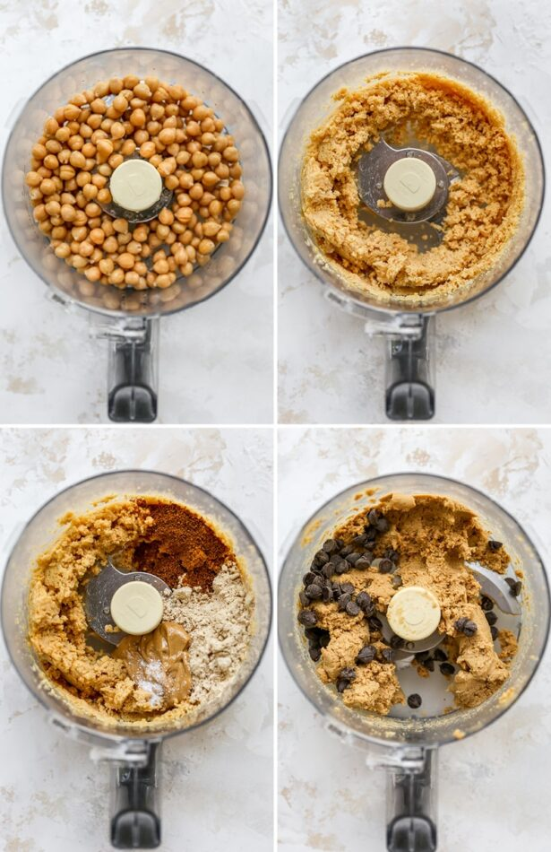 Collage of four photos showing the process how to make protein cookie dough bu blending chickpeas in a food processor and adding in sugar, nut butter, protein powder and chocolate chips.
