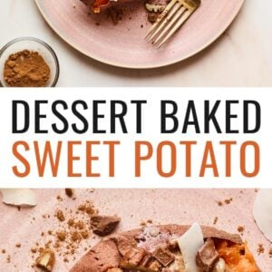 A pink plate with a dessert sweet potato on top. Topping ingredients are sprinkled around the dish and the tabletop. A gold fork rests on the plate.