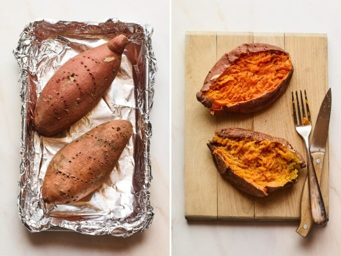 Side by side photos: first is two sweet potatoes on a foiled lined tray. Sweet potatoes are pricked with a fork. Second photo is two baked sweet potatoes fluffed on a wood cutting board. A fork and knife are on the board.