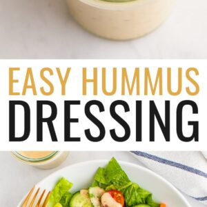 Spoon with a spoonful of hummus dressing from a jar. Photo below is hummus dressing drizzled over a green salad.