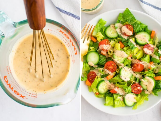 Side by side photo of a glass cup with a whisk and hummus dressing. Second photo is a green salad drizzled with hummus dressing.