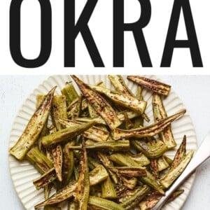 Roasted okra on a plate.