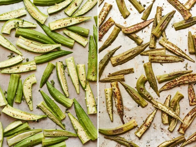 Side by side photos of okra on a baking sheet before and after being roasted.