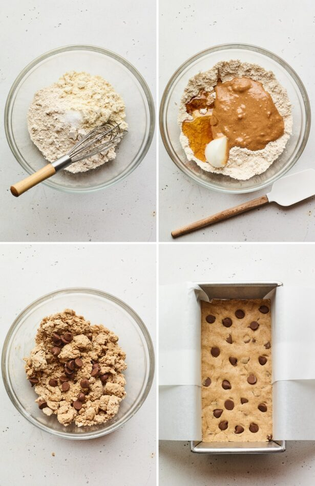 Four photos showing the process of making protein bars and placing it in a pan.