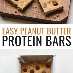 Photo of protein bars on a wood cutting board with a knife and a photo of the protein bars mixture in a pan.