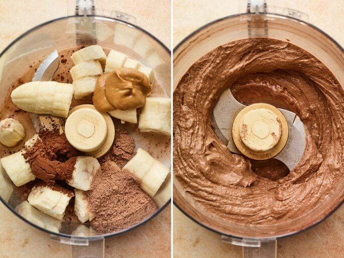 Side by side photos of bananas, protein powder, almond milk and nut butter before and after bing blended to make chocolate protein ice cream.