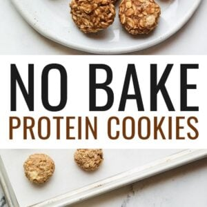 Plate of no bake protein cookies. Second photo of a bowl of the protein cookie mixture scooping cooking onto a cookie sheet.