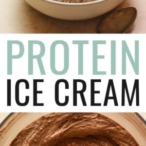 Photo of a bowl of vanilla and chocolate protein ice cream. Photo below is of the chocolate protein ice cream base in a food processor.
