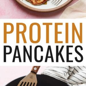 Plate of protein pancakes topped with chocolate chips, maple syrup and peanut butter. Another photo is of three pancakes in a skillet with a spatula.