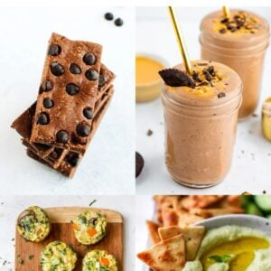 Collage of four photos: chocolate peanut butter protein bars, chocolate peanut butter cup smoothie, egg muffins and lima bean hummus.