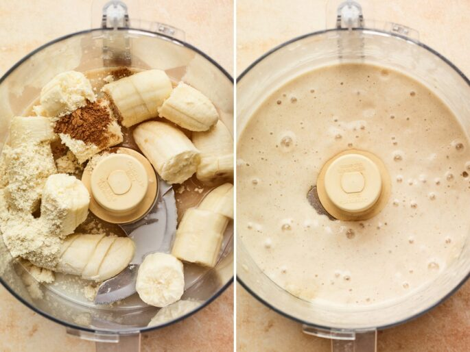 Side by side photos. One is of cinnamon, bananas, almond milk and protein powder in a food processor. The second is the mixture blended smoothly.