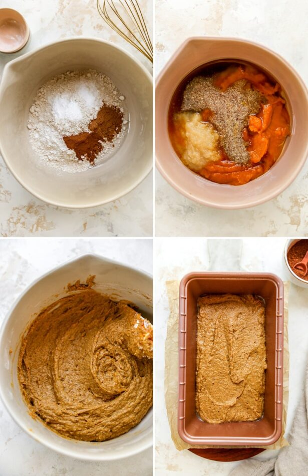 Four photos showing the process of making pumpkin breadL dry ingredients measured out in a bowl, adding wet ingredients and pumpkin to a bowl, mixing the pumpkin bread batter and finally the pumpkin bread batter in a loaf pan.