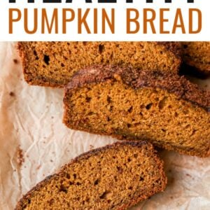 Close up photo of a few slices of pumpkin bread.