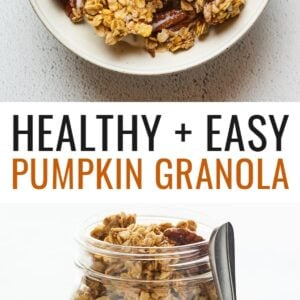 A bowl of pumpkin granola served in a bowl with milk. A silver spoon rests aside the bowl. Second photo is of a glass mason jar filled with pumpkin granola and a spoon is resting on the side.
