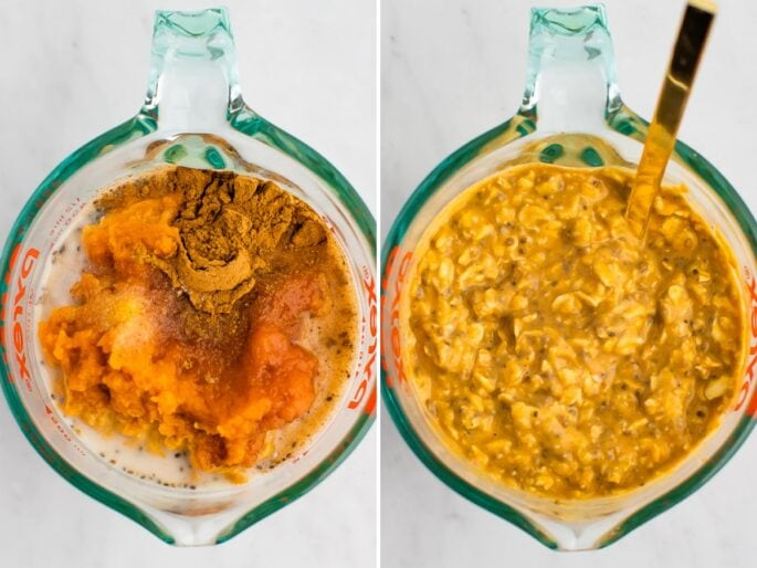 Side by side photos of a glass measuring cup with ingredients for pumpkin pie overnight oats before and after being mixed.