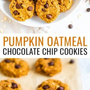 Plate of pumpkin oatmeal chocolate chip cookies. Another photo of the cookies on parchment paper.