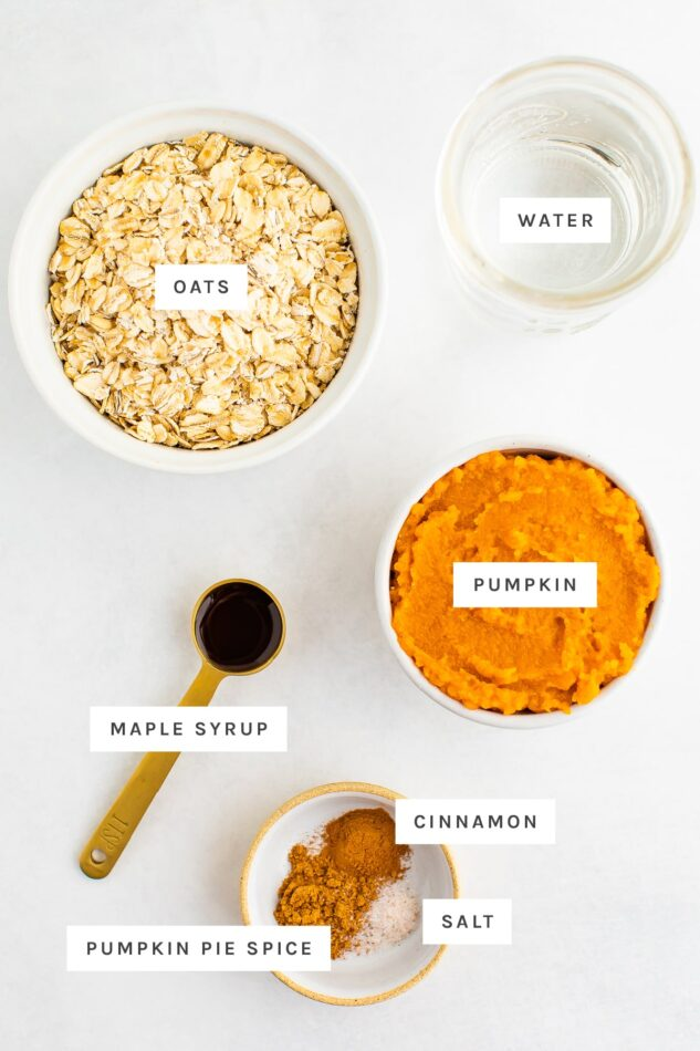 Ingredients measured out to make pumpkin oatmeal: oats, water, pumpkin, maple syrup, cinnamon, salt and pumpkin pie spice.