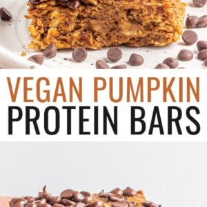 A stack of protein pumpkin bars on a white plate with chocolate chips sprinkled around. Second photo is a hand holding a pumpkin protein bar.