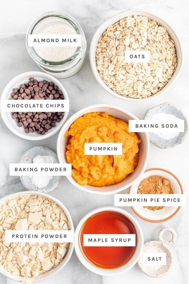 Ingredients measured out to make pumpkin protein bars: almond milk, oats, chocolate chips, pumpkin, baking soda, baking powder, pumpkin pie spice, protein powder, maple syrup and salt.