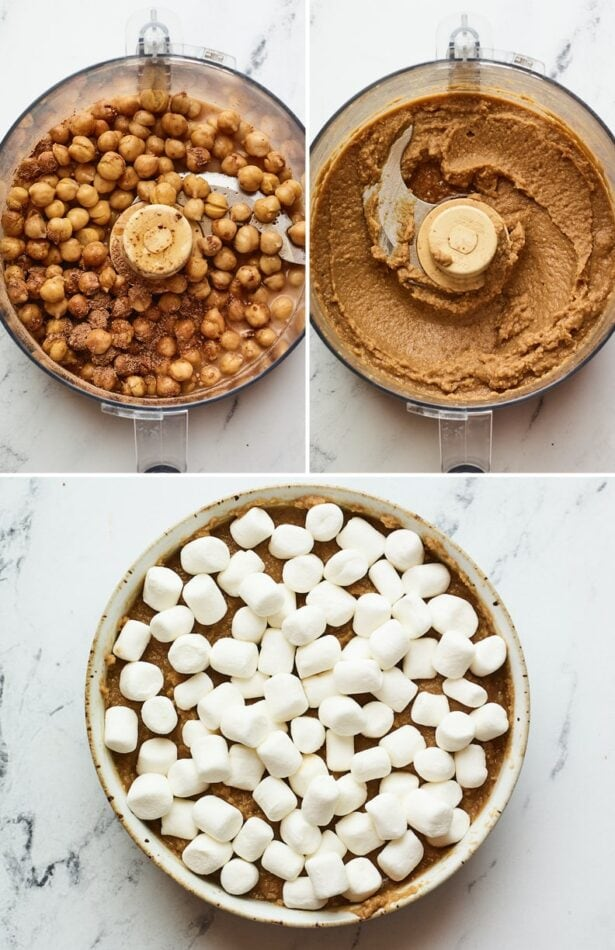 Three photos showing blended chickpeas to make the base of the s'more dip. Photo of the dip in a dish topped with mini marshmallows.