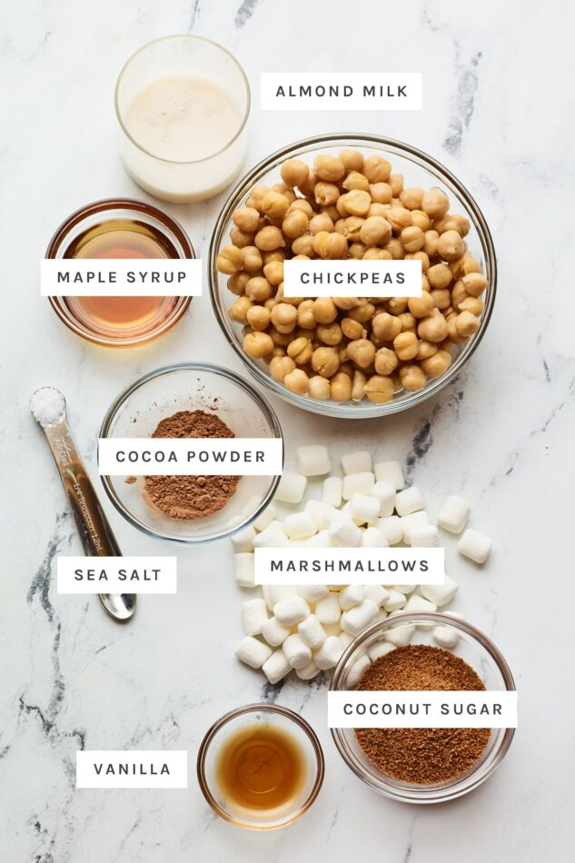 Ingredients measured out to make healthy s'mores dip: almond milk, chickpeas, maple syrup, cocoa powder, salt, marshmallows, vanilla and coconut sugar.