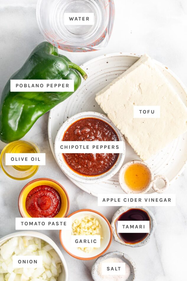 Ingredients measured out to make sofritas: water, poblano pepper, adobo chipotle pepper, tofu, vinegar, oil, tomato paste, garlic, soy sauce, salt and onion.