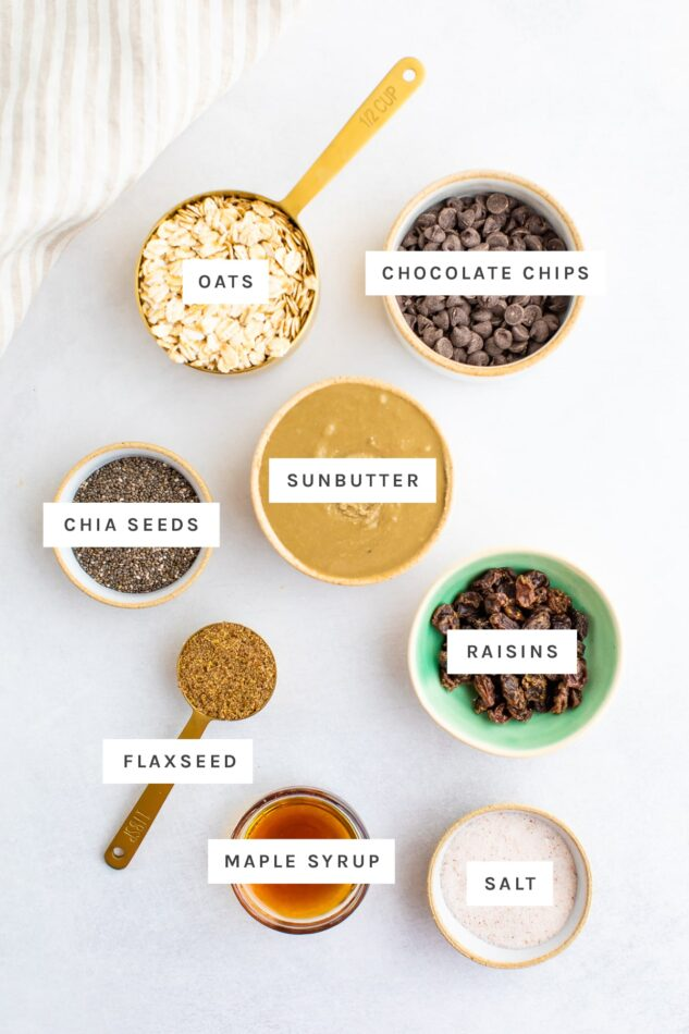 Ingredients measured out to make sunflower seed butter bites: oats, chocolate chips, sunbutter, chia seeds, flaxseed, raisins, maple syrup and salt.