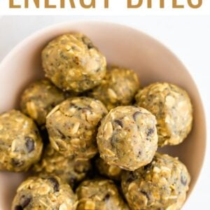 Energy bites made with sunbutter in a pink bowl.