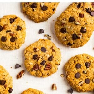 Photos of sweet potato breakfast cookies studded with pecans and chocolate chips.