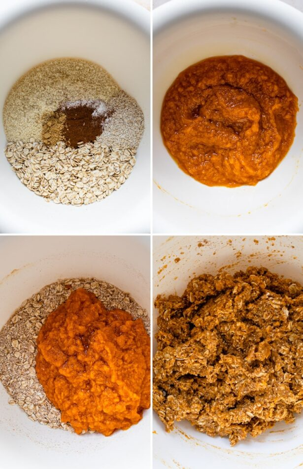 Collage of four photos showing the steps on how to make sweet potato breakfast cookie dough: first mixing the dry ingredients, then the wet ingredients, then combining both and mixing together.
