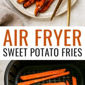 A plate of air fryer sweet potato fries with two forks and a ramekin of salt. Another photo of uncooked sweet potato fries in an air fryer.