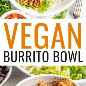 Two photos: first one is the vegan burrito bowl made with sofritas, corn, beans, guacamole, rice, onion, salsa and lettuce. The second photo is a close up photo of a bowl of tofu sofritas.
