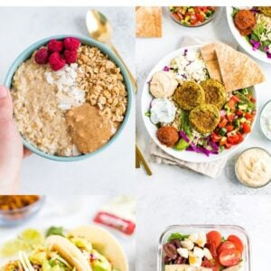 Collage of photos: oatmeal, falafel bowls, tempeh tacos and a farro salad.