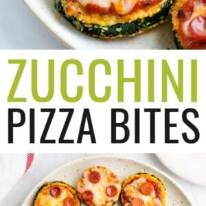 Photos of zucchini pepperoni pizza bites on a plate.