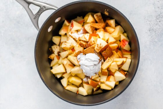 Sauce pan with ingredients for apple filling.