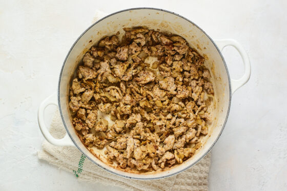 Turkey, onion, garlic, and spices mixed together in a large pot.