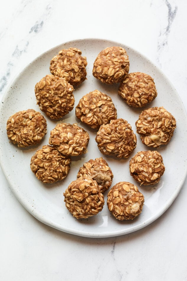 Plate of no bake protein cookies.