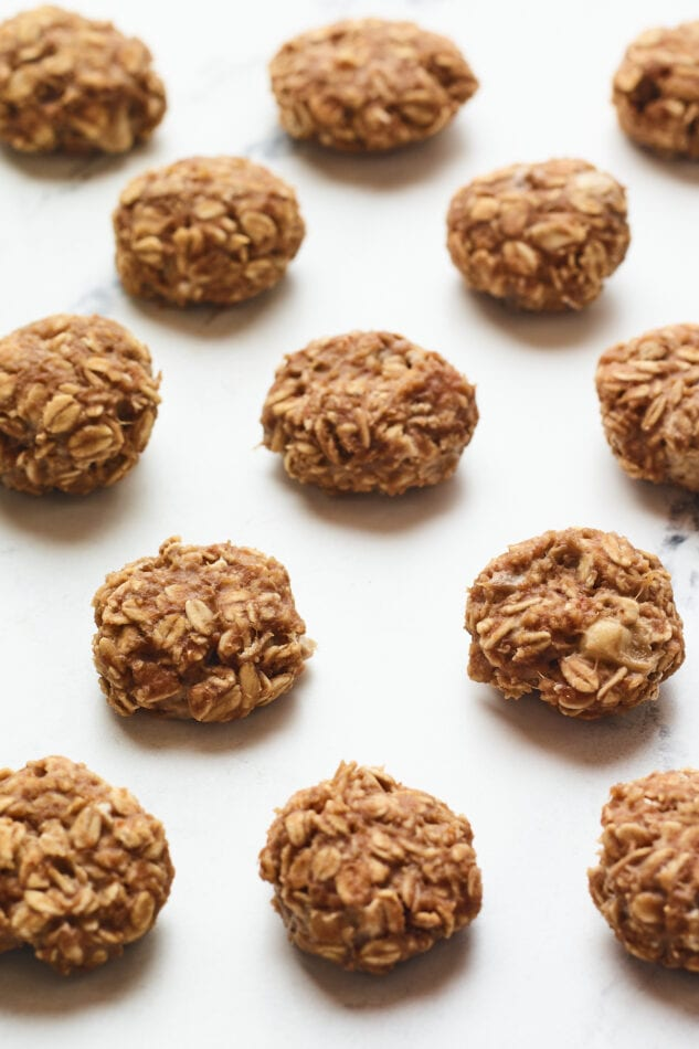 Close up photo of no bake protein cookies.