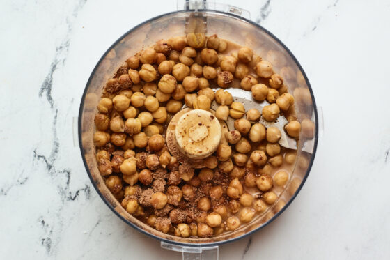 Chickpeas, maple syrup, coconut sugar and cocoa powder in a food processor.