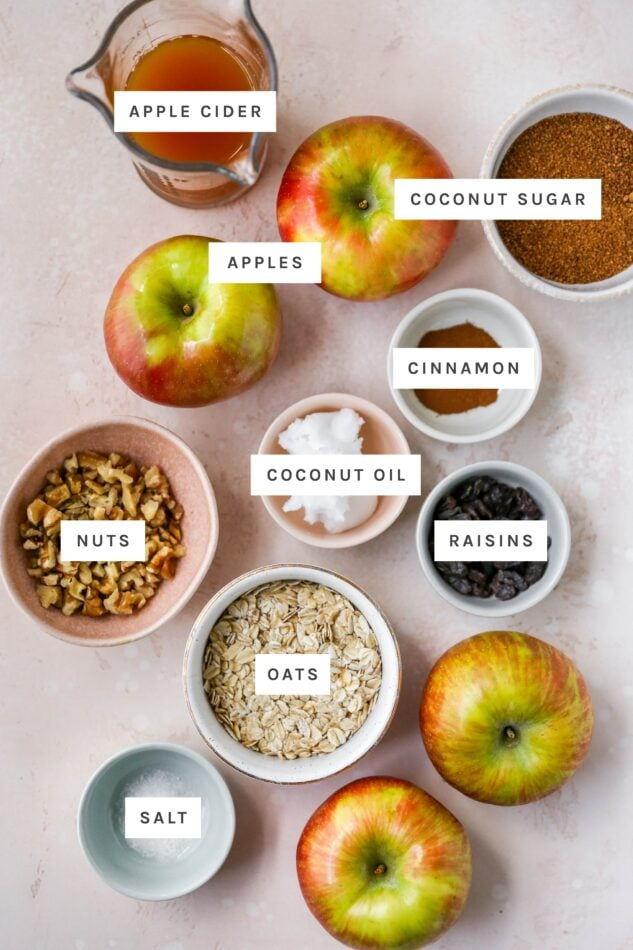 Ingredients measured out to make baked apples: apple cider, coconut sugar, apples, cinnamon, coconut oil, nuts, raisins, oats and salt.