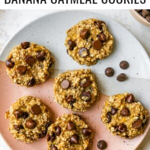 Plate of chocolate chip banana oatmeal cookies.