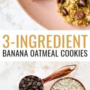 Plate of chocolate chip banana oatmeal cookies. Photo below is of two ripe bananas, and measuring cups of chocolate chips and quick oats.