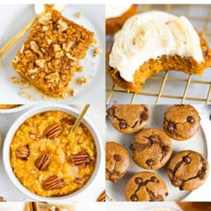 Collage of six photos: pumpkin baked oatmeal, pumpkin cookies, pumpkin oatmeal, pumpkin muffins, pumpkin chia pudding, PSL.