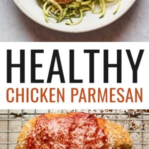 One photo of chicken parm served over zucchini noodles. Another photo of two chicken parmesans on a wire rack on a baking sheet.