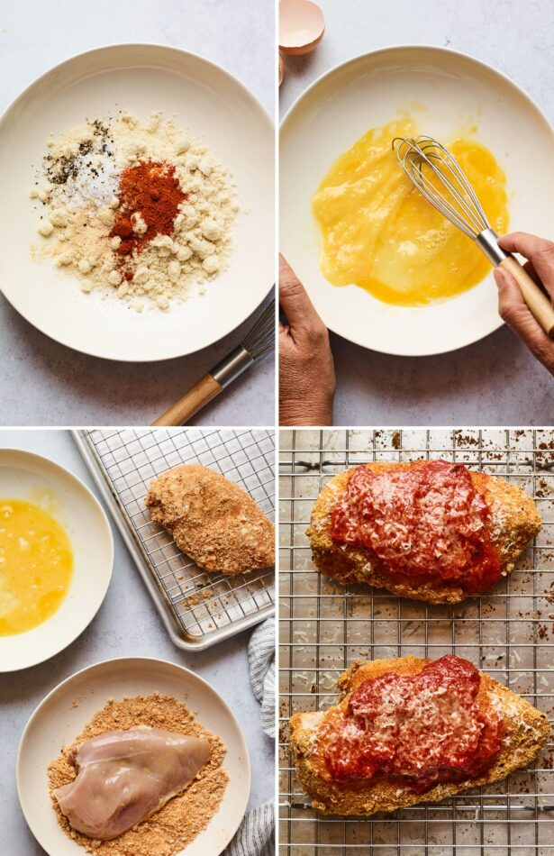 Collage of four photos showing how to make healthy chicken parm. 1. almond meal and spices in a bowl. 2. whisking eggs 3. Breading chicken in egg and almond meal. 4. baking chicken with marinara and parm.