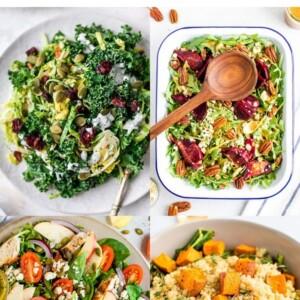 Collage of four fall salads: kale salad, beet salad, apple salad and sweet potato quinoa salad.