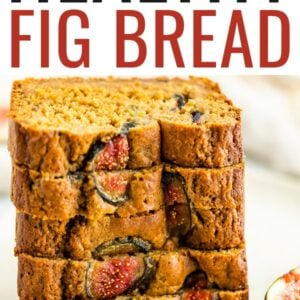 Stack of five slices of fig bread. The bread is studded with fresh figs.