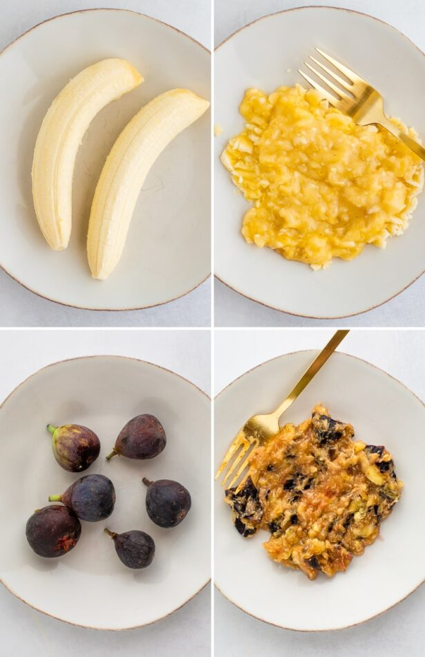 Collage showing bananas and figs before and after being mashed by a fork.